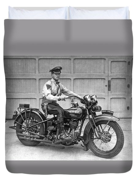 New Jersey Motorcycle Trooper Duvet Cover
