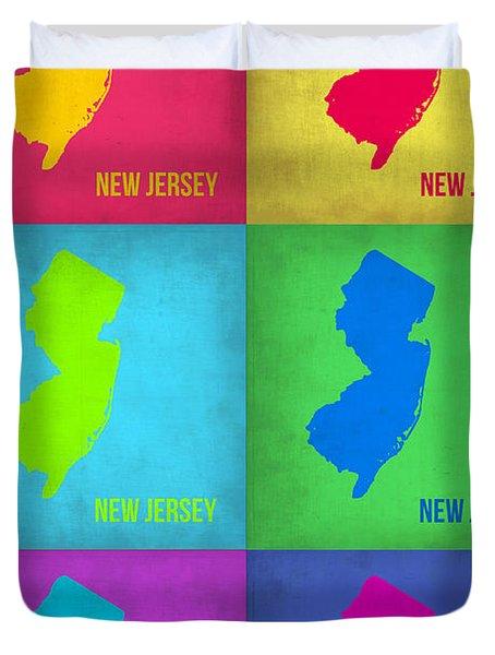 New Jersey Pop Art Map 1 Duvet Cover by Naxart Studio
