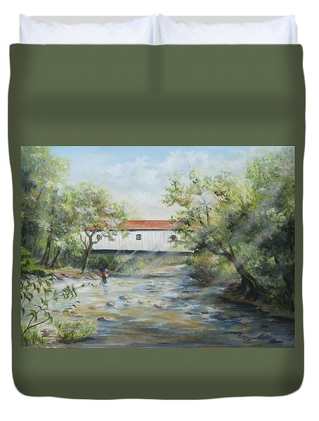Duvet Cover featuring the painting New Jersey's Last Covered Bridge by Katalin Luczay