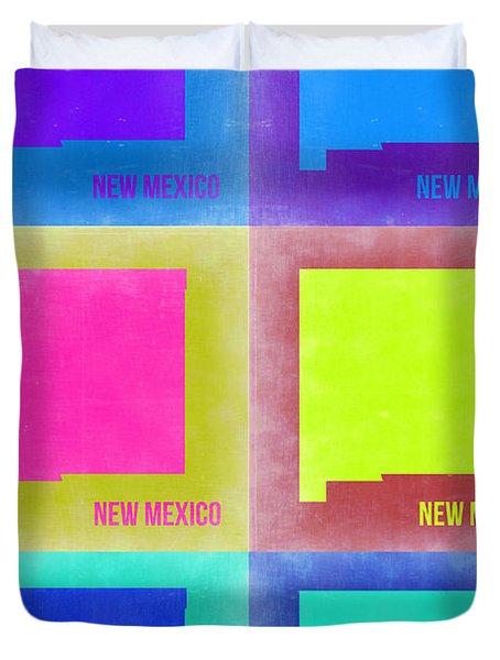 New Mexico Pop Art Map 2 Duvet Cover by Naxart Studio