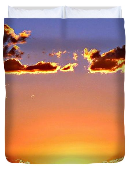Duvet Cover featuring the photograph New Mexico Sunset Glow by Barbara Chichester
