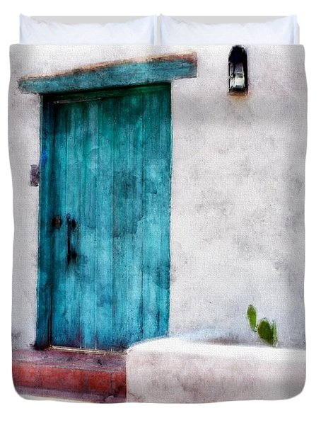 New Mexico Turquoise Door And Cactus  Duvet Cover by Barbara Chichester