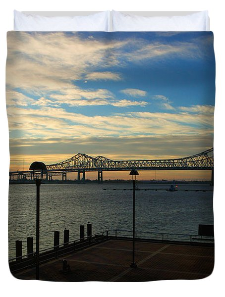 Duvet Cover featuring the photograph New Orleans Bridge by Erika Weber