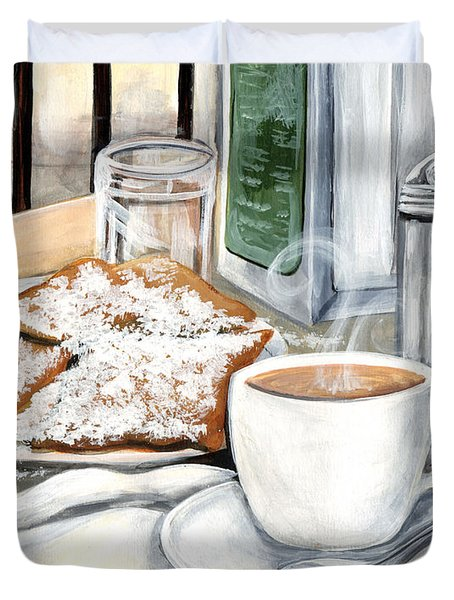 New Orleans Cafe Du Monde Duvet Cover by Elaine Hodges