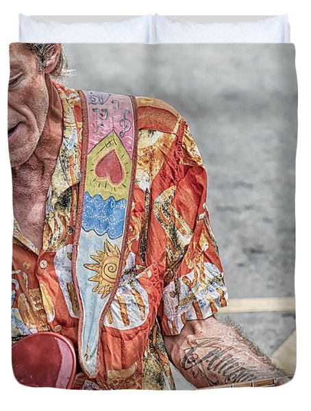 New Orleans Guitar Man Duvet Cover