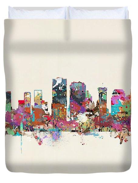 New Orleans Louisiana Skyline Duvet Cover