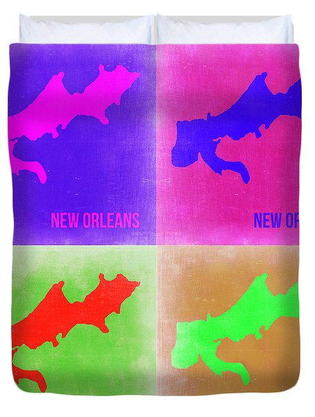 New Orleans Pop Art Map 2 Duvet Cover by Naxart Studio