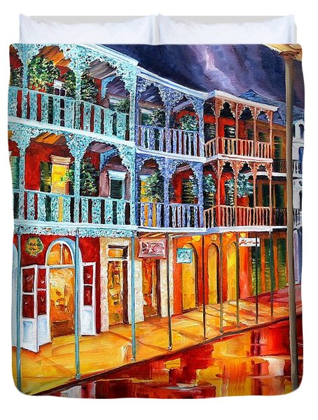 New Orleans Reflections In Red Duvet Cover by Diane Millsap