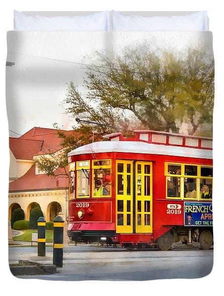 New Orleans Streetcar Paint Duvet Cover by Steve Harrington