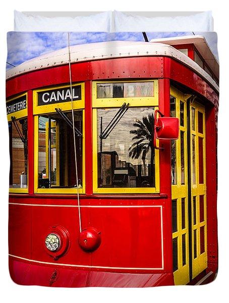New Orleans Streetcar  Duvet Cover by Paul Velgos