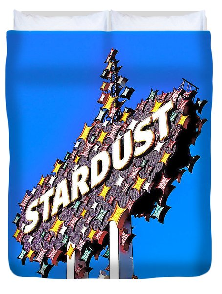 Original Stardust Casino Neon In Las Vegas Pop Art Duvet Cover