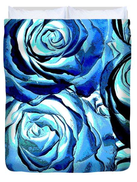 Pop Art Blue Roses Duvet Cover