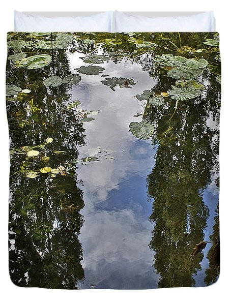 Reflections Amongst The Lily Pads Duvet Cover