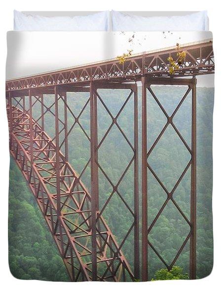 Duvet Cover featuring the photograph New River Gorge Bridge   by Lars Lentz