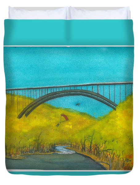 New River Gorge Bridge On Bridge Day Duvet Cover