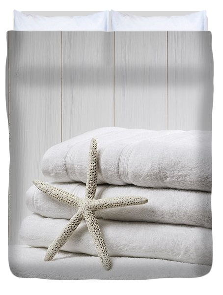New White Towels Duvet Cover by Amanda Elwell