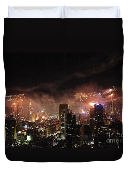 New Year Fireworks Duvet Cover