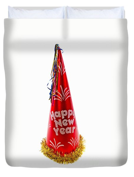 Happy New Year Party Hat Duvet Cover by Vizual Studio