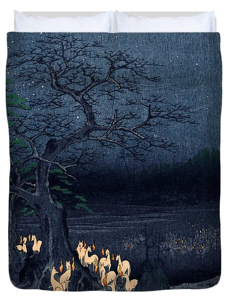 New Years Eve Foxfires At The Changing Tree Duvet Cover by Georgia Fowler