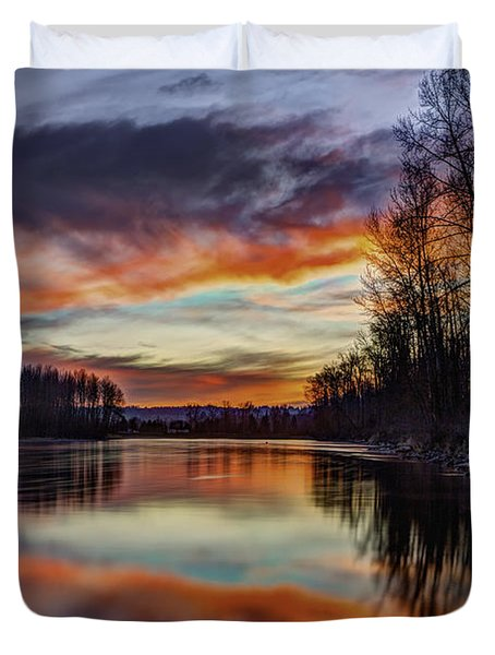 New Years Eve Sunset Duvet Cover