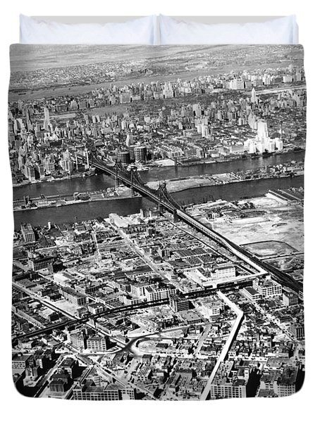 New York 1937 Aerial View  Duvet Cover by Underwood Archives