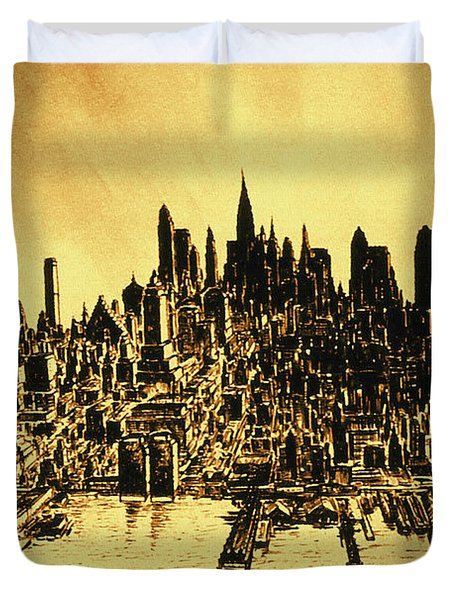 New York Skyline 78 - Mid Manhattan Ink Watercolor Painting Duvet Cover