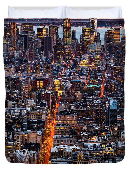 New York Aerial Cityscape Duvet Cover by Mihai Andritoiu