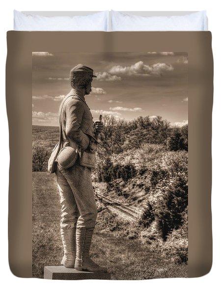 New York At Gettysburg - 84th Ny Vol Infantry 14th Brooklyn Regiment Red Legged Devils Railroad Cut Duvet Cover by Michael Mazaika