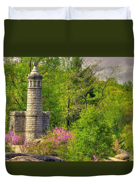 New York At Gettysburg - Monument To 12th / 44th Ny Infantry Regiments-1a Little Round Top Spring Duvet Cover by Michael Mazaika