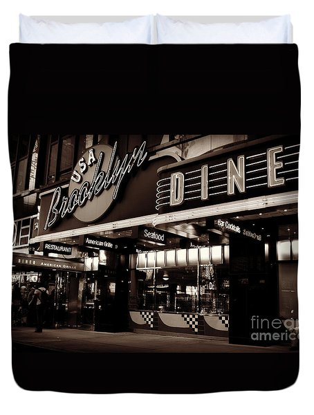 New York At Night - Brooklyn Diner - Sepia Duvet Cover