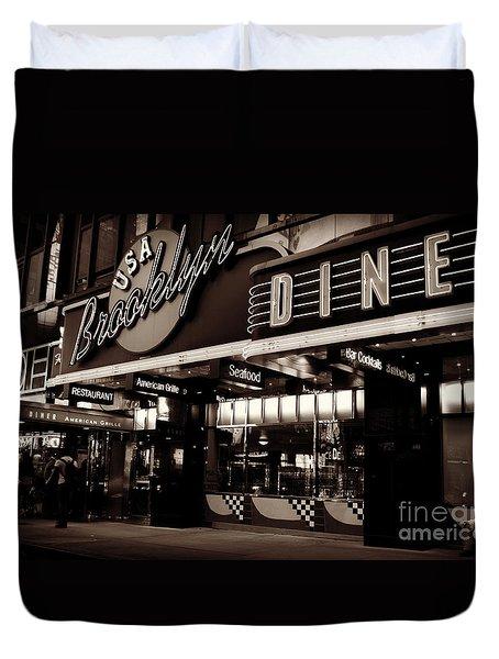New York At Night - Brooklyn Diner - Sepia Duvet Cover by Miriam Danar