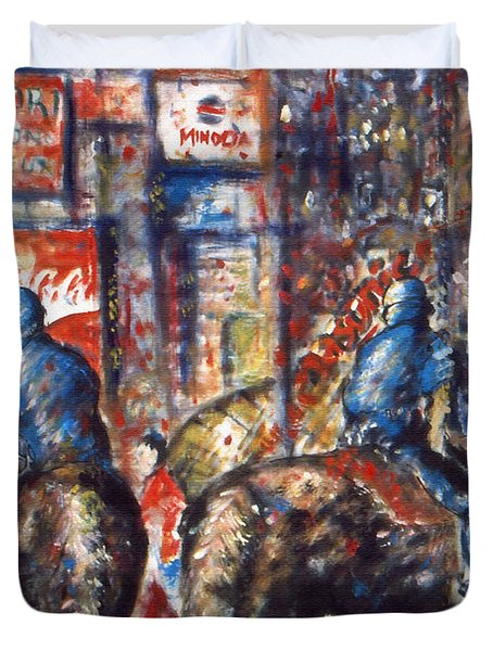 New York Broadway At Night - Oil On Canvas Painting Duvet Cover