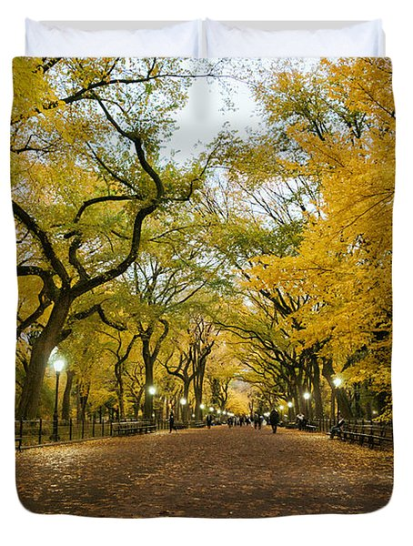 New York City - Autumn - Central Park - Literary Walk Duvet Cover by Vivienne Gucwa