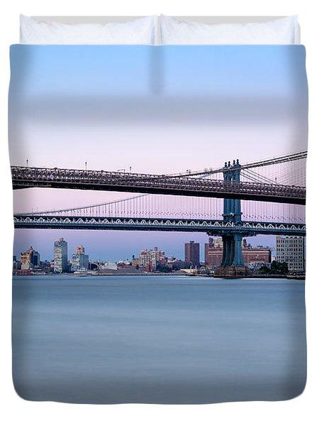New York City Bridges Bmw Duvet Cover by Susan Candelario