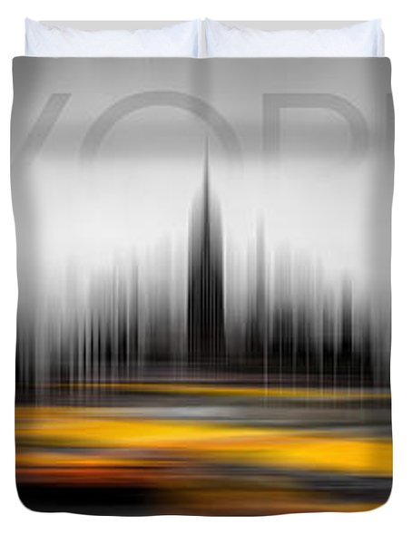 New York City Cabs Abstract Duvet Cover by Az Jackson