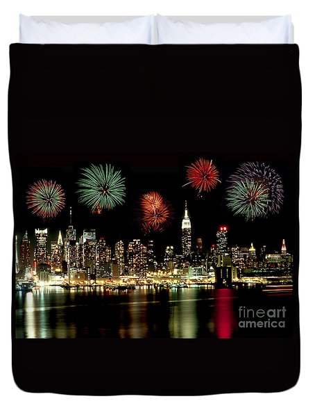 New York City Fourth Of July Duvet Cover by Anthony Sacco