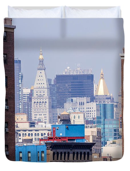 New York City From Brooklyn Bridge Duvet Cover
