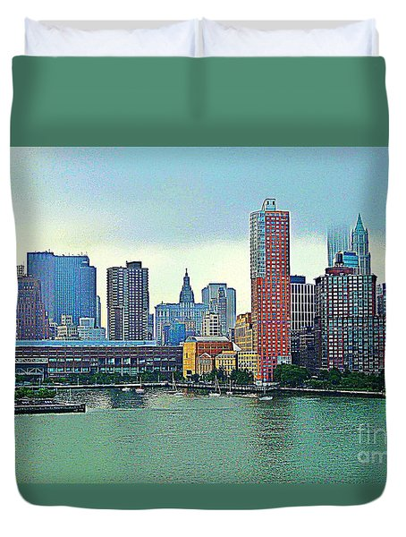 Duvet Cover featuring the photograph New York City Landscape by Judy Palkimas