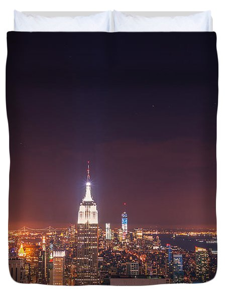 New York City Lights At Night Duvet Cover by Vivienne Gucwa