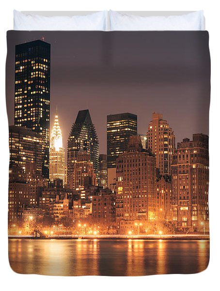 New York City Lights - Skyline At Night Duvet Cover by Vivienne Gucwa