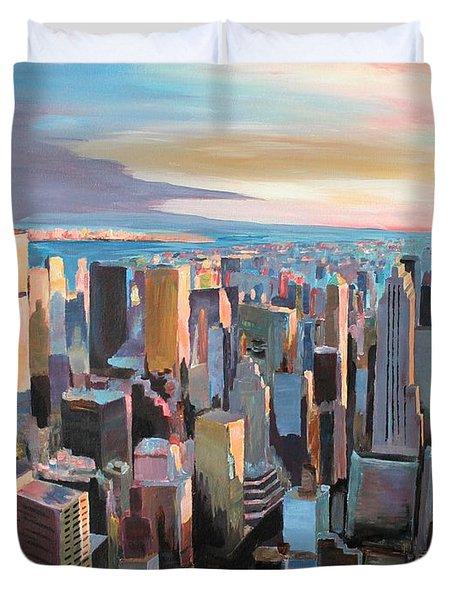 New York City - Manhattan Skyline In Warm Sunlight Duvet Cover