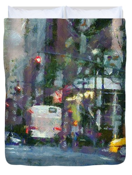 New York City Morning In The Street Duvet Cover by Dan Sproul