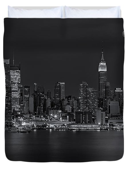 New York City Night Lights Duvet Cover by Susan Candelario