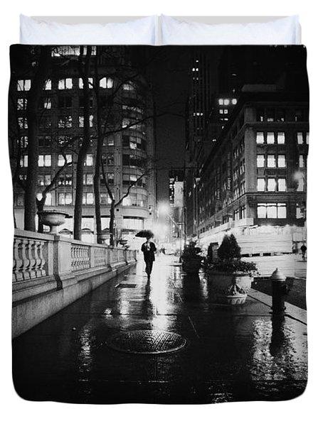 New York City - Night Rain Duvet Cover by Vivienne Gucwa