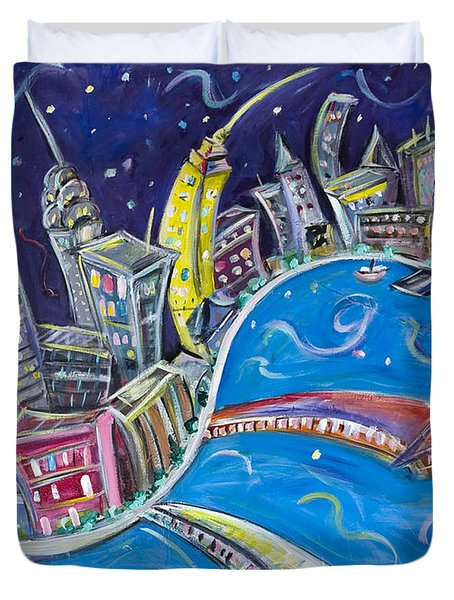 New York City Nights Duvet Cover by Jason Gluskin