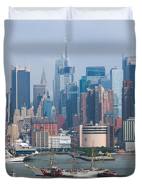 New York City Parade Of Sail I Duvet Cover by Clarence Holmes
