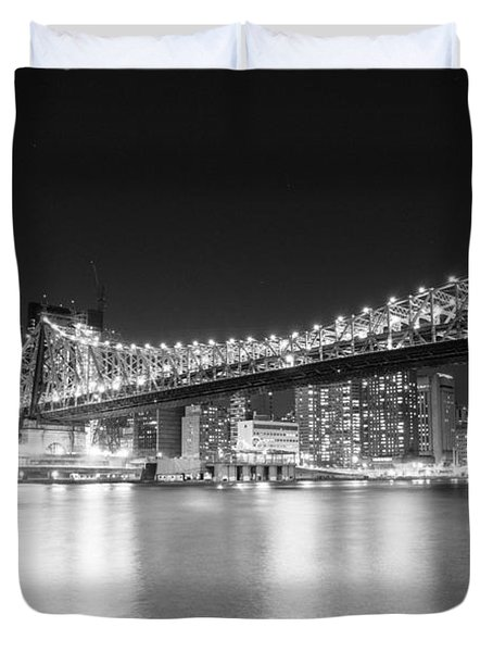 New York City - Queensboro Bridge At Night Duvet Cover by Vivienne Gucwa