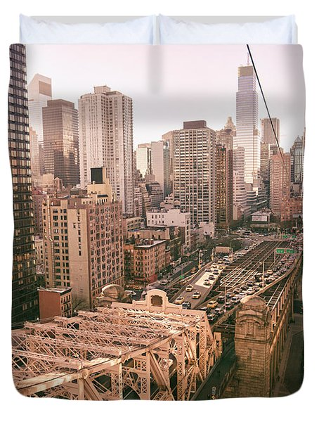 New York City Skyline - Above The City Duvet Cover by Vivienne Gucwa