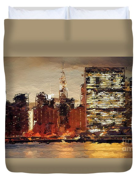 Duvet Cover featuring the digital art New York City Skyline Abstract 2 by Anthony Fishburne