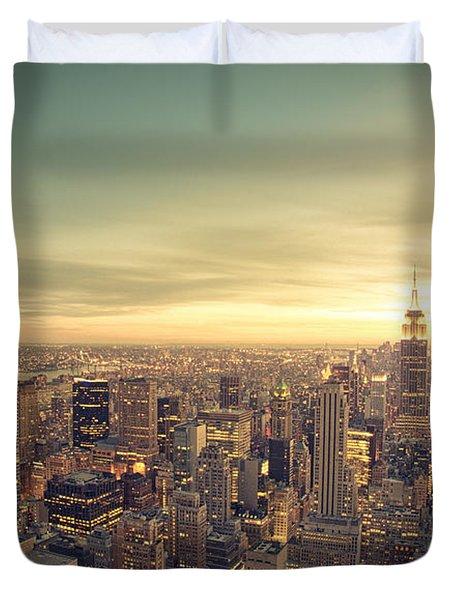 New York City - Skyline At Sunset Duvet Cover
